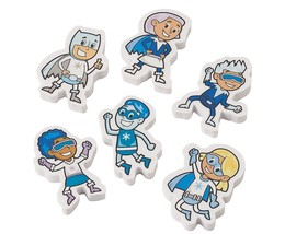 "Winter Superhero Erasers (24 Pack)  1 1/2"" x 2"" - $10.44"