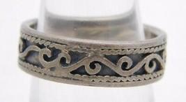 VTG .925 Sterling Silver Carved Swirl Band Metal Ring 5.5 - $19.80