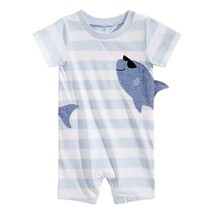First Impressions Baby Boys Striped Shark-Print Cotton Romper Size 6-9 M... - $12.86