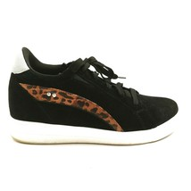 Ryka Womens Viv Suede Leather Lace Up Leopard Wedge Sneakers Black 9M - $44.54
