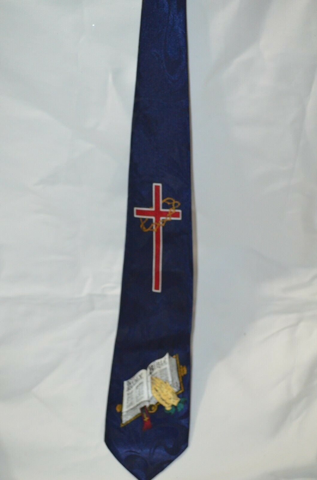 Cross Holy Bible Necktie Tie Religious Jesus Fratello Hand Made Blue Maroon