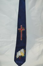 Cross Holy Bible Necktie Tie Religious Jesus Fratello Hand Made Blue Mar... - $13.30