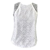 Calvin Klein Womens White Lace Sleeveless Crew Neck Top Sz XS NWOT - $24.75
