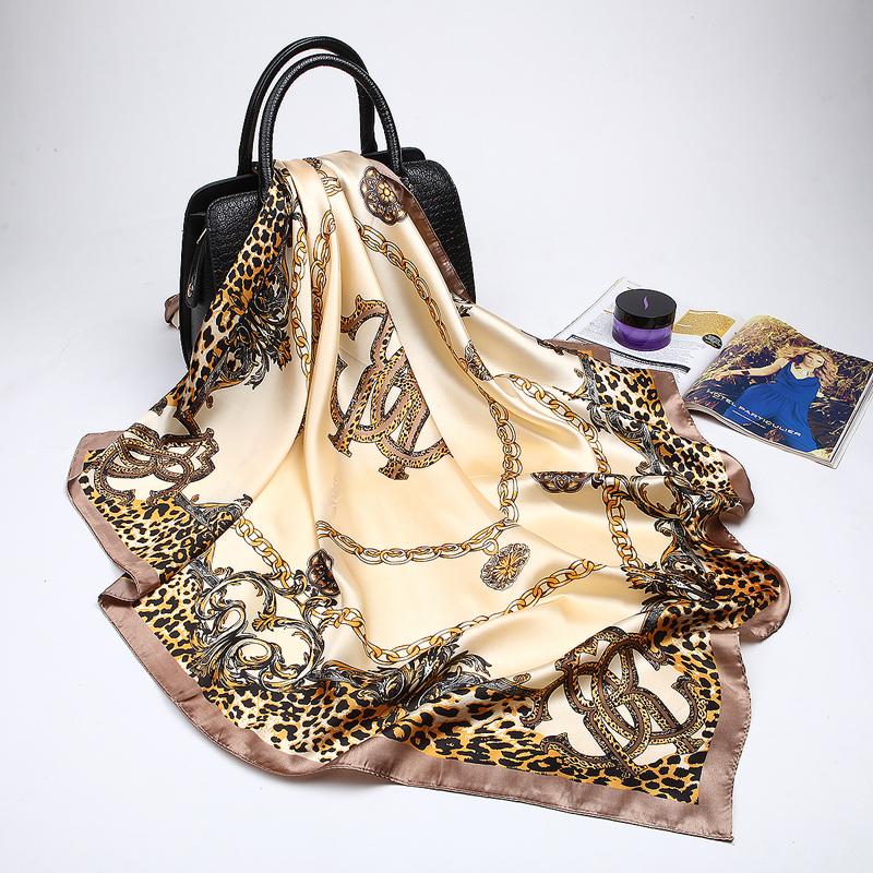 Fashion Women Scarf Luxury Brand Pink Leopard Hijab Silky Satin Shawl Scarfs Fou image 2