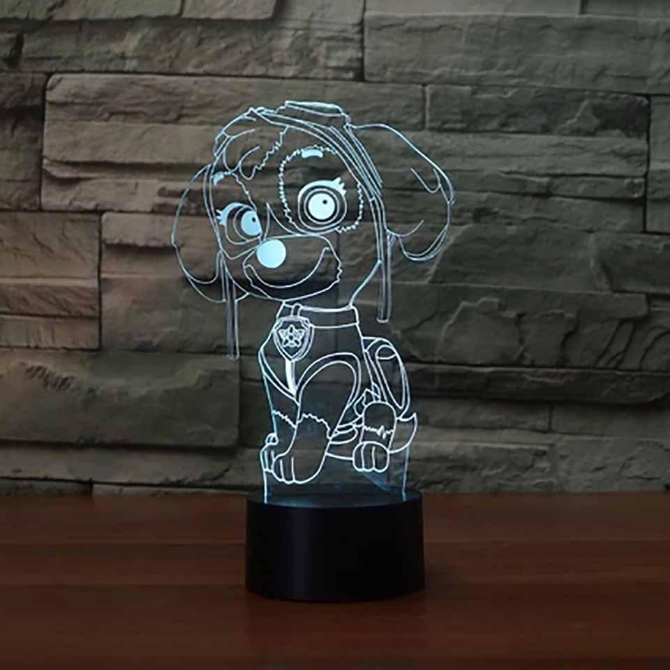 3D Led Vision Cute Robot Dog Desk Lamp 7 Color Change Cartoon Modelling Touch Li