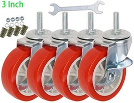 DICASAL 3 Inch Durable Heavy Duty Casters Wear Resistant Red PVC Material Swivel