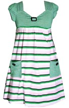 Bonnie Jean Little Girl 4-6X Green Pink Button Pocket Stripe Knit Dress