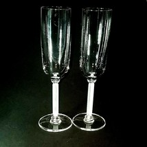 2 (Two) VINTAGE MIKASA HORIZON Frosted Stem Crystal Champagne Flutes DIS... - $41.70