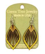 Green Tree Jewelry Fan Leaf Wooden Laser Cut Earrings #1028 Lemon Yellow... - $9.99
