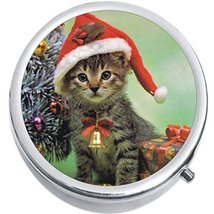 Christmas Kitty Medicine Vitamin Compact Pill Box - $9.78