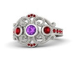 Round amethyst 14k white gold ring with ruby thumb155 crop