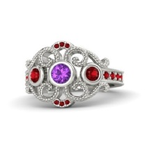 Round amethyst 14k white gold ring with ruby thumb200