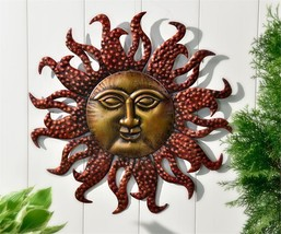 "22"" Celestial Iron Astrology Sun Face Design Wall Decor Antique Gold and Red NEW"