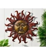 """22"""" Celestial Iron Astrology Sun Face Design Wall Decor Antique Gold and... - $79.19"""