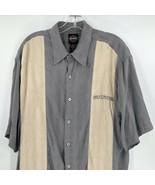 Harley Davidson Mens Gray Beige Jaquard Print Skulls Logo Silk Shirt Siz... - $79.19