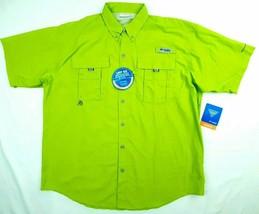 Columbia PFG Bahama II Fishing Shirt Size Medium Green Tactel Nylon D366 - $26.72