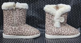 T Animal Print Boot Cherokee Debbie Brown Faux Fur Fleece Toddler Size 8 - $16.99