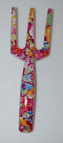 Pretty Tools 5205 Garden Fork Fuchsia Floral Design 9 Inches