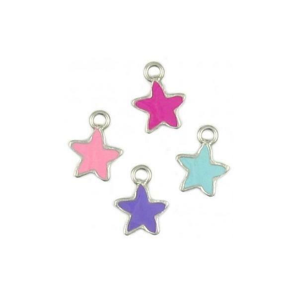 COLORED STAR ENAMELED FINE PEWTER PENDANT CHARM - 13X19X2mm