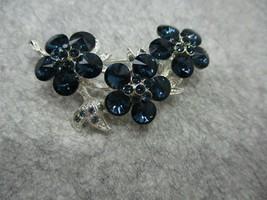Sapphire Blue Marquise Rhinestone Flower Brooch Silvertone Metal - $10.99