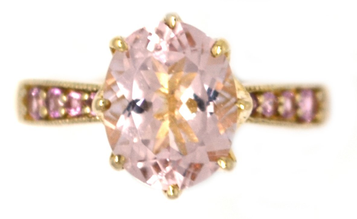 925 Silver Gold Plated Morganite Ring