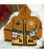 Peruvian Girls Kids Yellow Handmade Llama Alpaca Hoodie Sweater Size 4T - $17.99