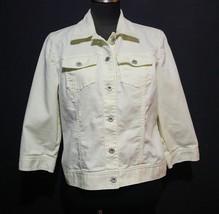 Chicos Denim Jacket Jean Jacket Size 1 Wmns Pistachio Yellow Green 3/4 S... - $26.71