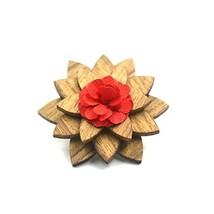 Amzchoice Men's Wood Lapel Flower Wooden Boutonniere Pin for Suit Weddin... - $6.20