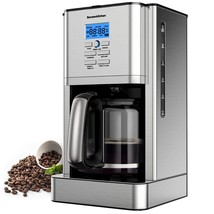 12 Cup Programmable Stainless Steel Drip Coffee Maker Machines Built in ... - $123.99