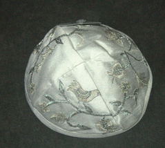 Judaica Kippah White Silver Gold Birds Embroidered Yarmulke Yamaka 22 cm image 3