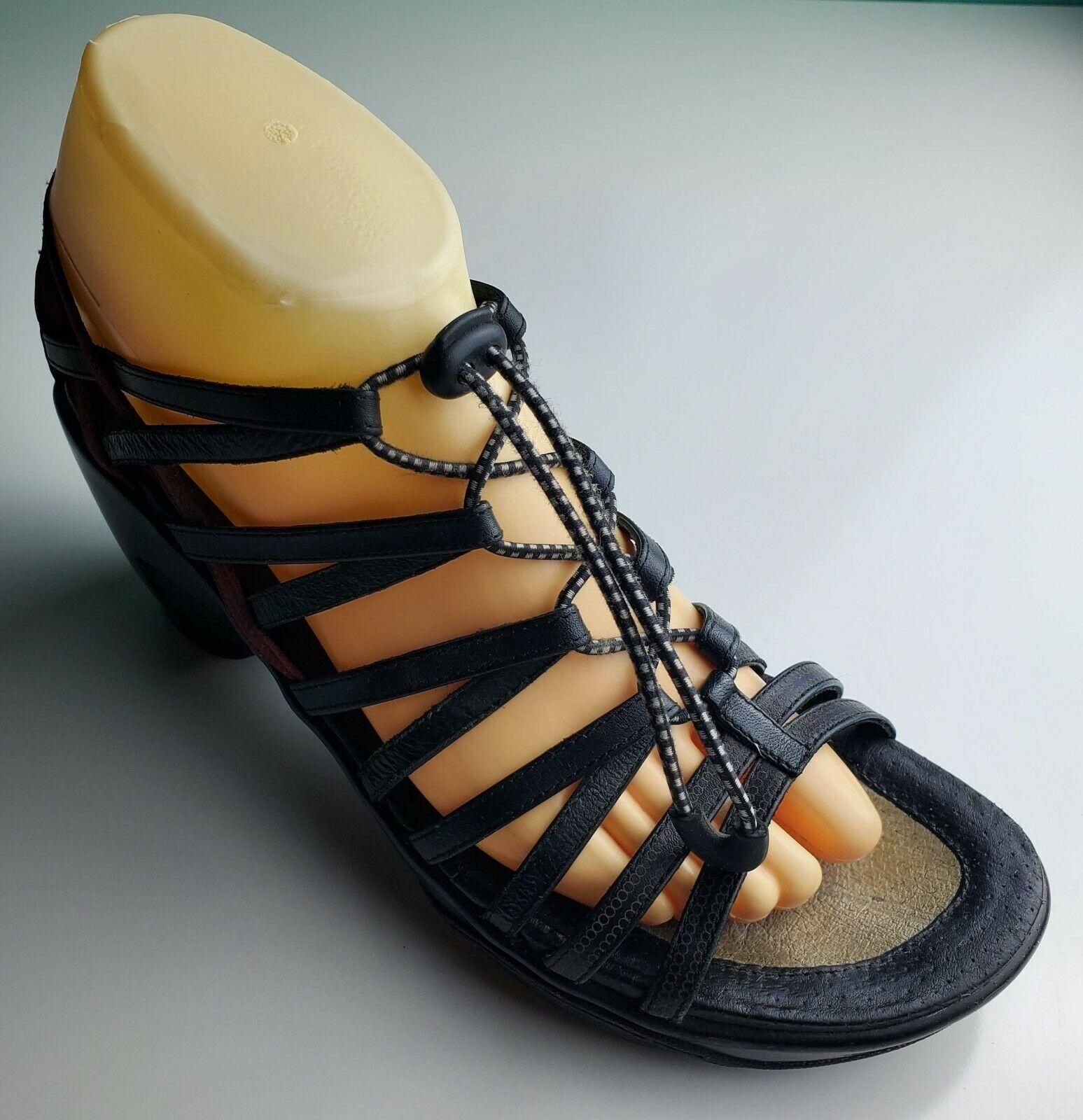 "Jambu ""Troy"" Women's Black Gladiator Strappy Wedge Sandals Size 8.5  - $33.65"