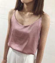 Summer Sleeveless Silky Tanks Top Dusty Pink Party Tanks Wedding Bridesmaid Tops