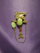 Egyptian Revival Scarab Sphinx W/ Chain Vintage Brooch Pin - $64.35