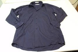 M4202 Mens Calvin Klein cotton/rayon Navy Blue Stripe Button Shirt, 15½-32/33 - $14.50
