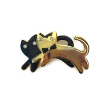 Vintage Goldtone Black Pair Of Cats Running Pin Brooch Costume Jewelry M... - $9.46
