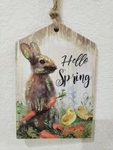 "Easter HELLO SPRING Glitter Bunny Rabbit Hanging Sign Decor 9.5"" x 6.25"" - $18.99"