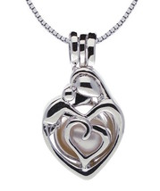 PEARLINA Mother Child Mom Sterling Silver Necklace Cage Genuine Pearl Oy... - $39.59