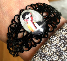 Large Wearable Art Cameo Black Filigree Bracelet Moonlight Full Moon God... - $65.00