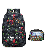 Roblox Backpack Package Summer Series Lunch Box Black Grid Schoolbag Day... - $45.99