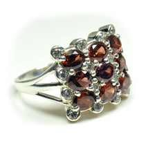 Real Garnet 925 Silver Ring For Women Birthstone Jewelry US 4,5,6,7,8,9,... - £23.40 GBP