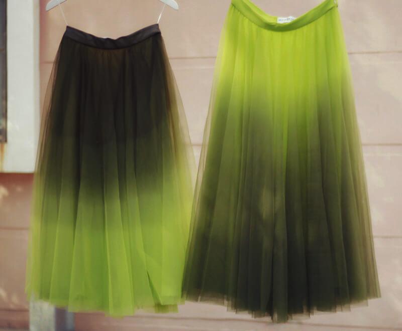 Dye tulle skirt olivegreen 7
