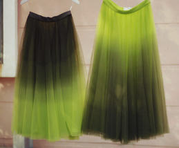 OLIVE GREEN Full Tulle Skirt Green Tie Dye Long Tulle Skirt High Waisted A Line  image 1