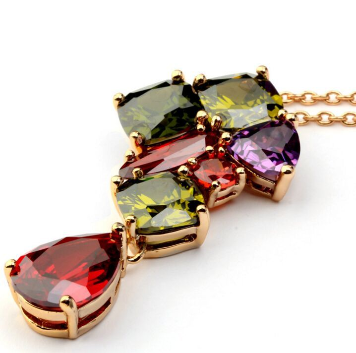 high quality jewelry multi-color AAA cubic zircon pendants luxury necklace chain