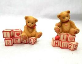Cherished Teddies 1996 Lot 2 Mini Bears Blocks Love Heart Hugs i ❤ Bears... - $12.86