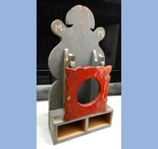 antique victorian HANDMADE WALL POCKET/SHELF /ORIG PAINT signed M.M.earl... - $124.95
