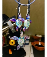 Great glass turtle amber purple flowered shell, with matching earring co... - $110.00