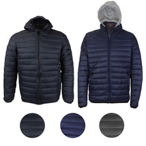 Maximos Men's Slim Fit Lightweight Zip Insulated Packable Puffer Hooded Jacket