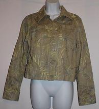 Liz Claiborne Denim Jacket Light Green Embroidered  Size M *Cotton* - $29.99