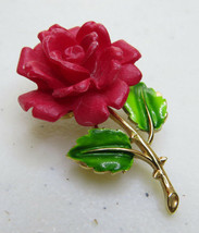 "Vintage Crown Trifari Red Lucite Rose Gold Tone & Enamel Leaf Brooch Pin 2"" - $35.00"