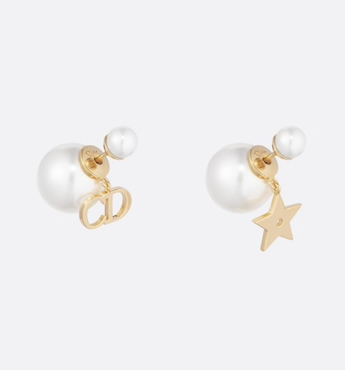 NEW Authentic Christian Dior 2019 CD LOGO STAR DANGLE DOUBLE PEARL Earrings